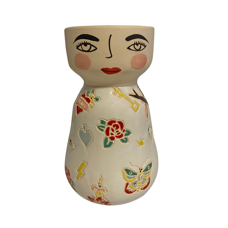 Dallas Ceramic Face Vase