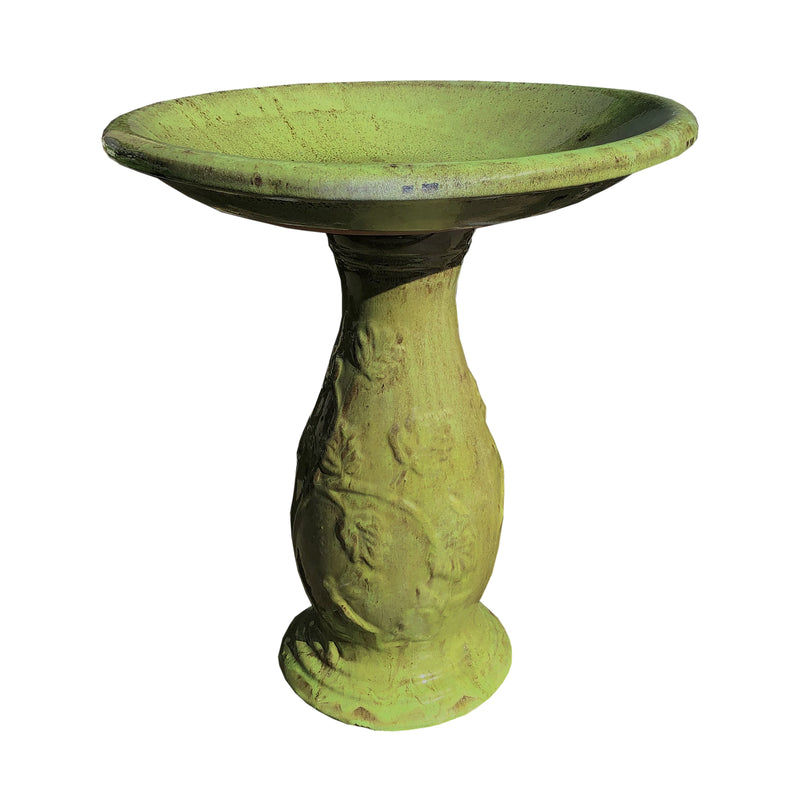 Ceramic Green Bird Bath with Filagree Base