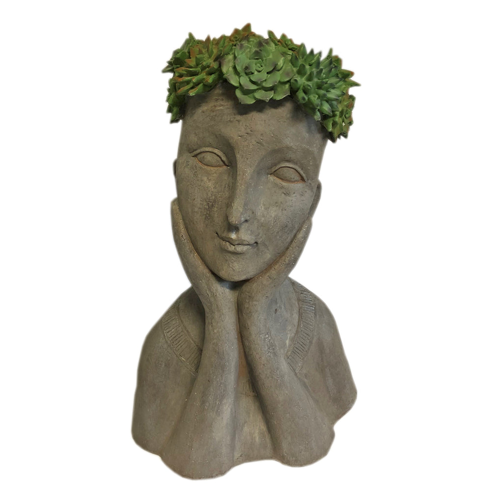 Girl Head Planter with Green Flower Crown Leaning Right