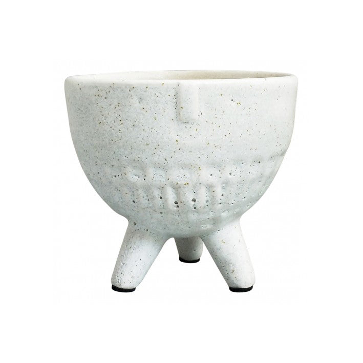 Ceramic Planter Face on Legs White Small