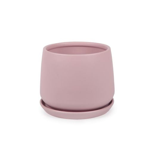 Round Tapered Pot Matt Blush Pink 22cm with Saucer