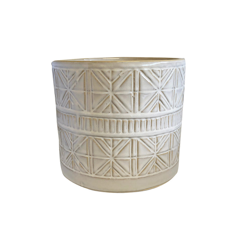 Ceramic Sahara White Pot Planter 16cm