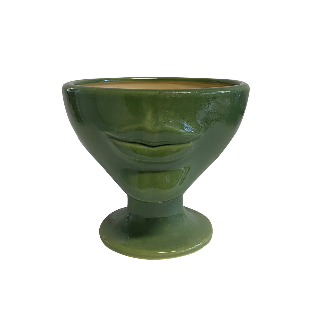 Simone Tissian Green Ceramic Face Planter