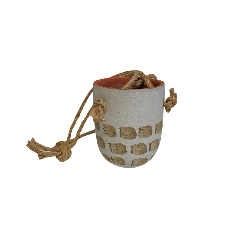Tahir Hanging Pot White/Natural Small