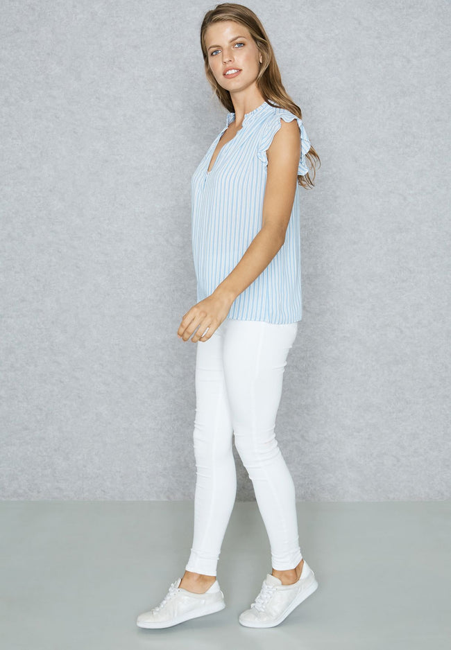 Mango Frill Detail Striped Top