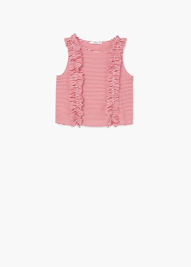 MANGO-Ruffle Striped Top