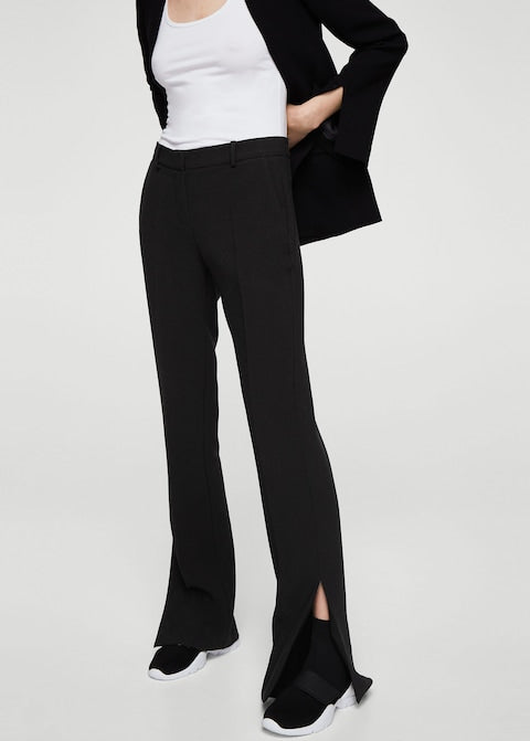 MANGO-Side slit flowy trousers