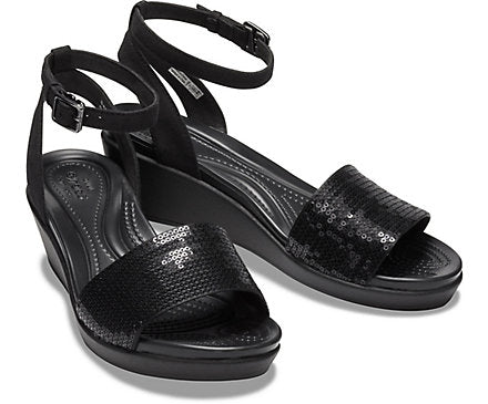Crocs  LeighAnn Ankle Strap Sequin Black/Black Women Wedge