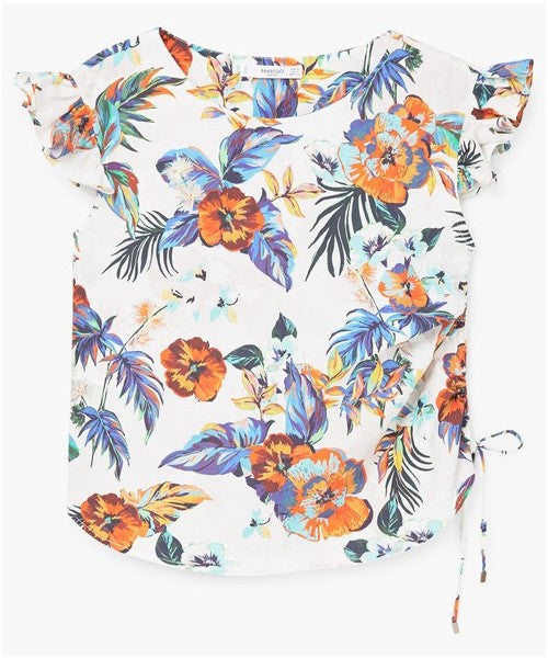 MANGO-Ruffled floral blouse