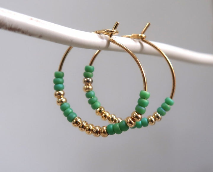 Gold and Green beaded Hoops