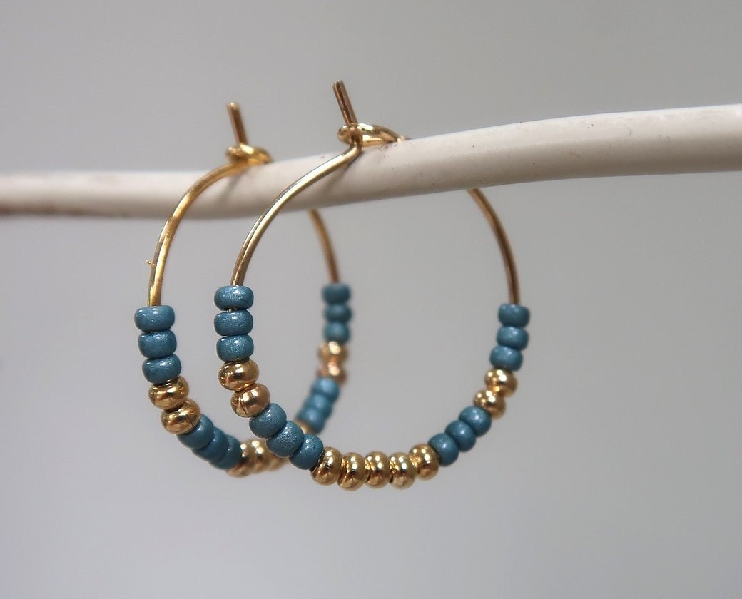 Gold and Teal beaded Hoops