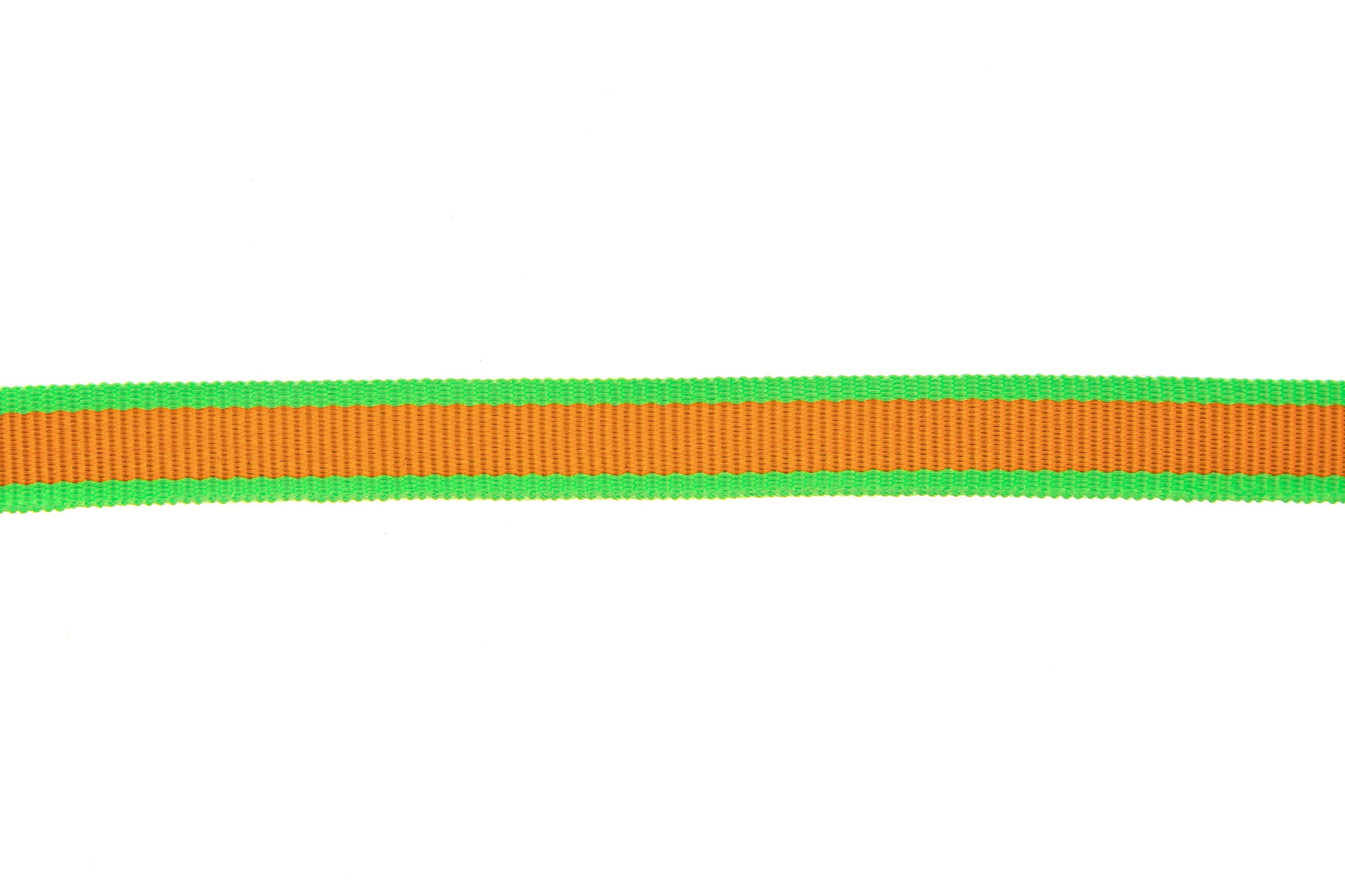 10m roll Bright Orange Grosgrain Ribbon with Bright Lime Green Edging