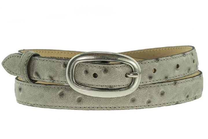 Ladies Italian Leather Grey Ostrich Print Skinny Waist Belt With Silver Buckle