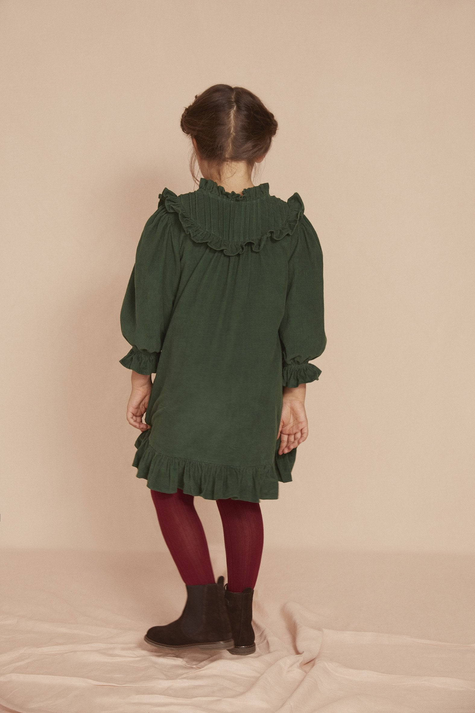 THE LITTLE PLEAT DRESS | Fern Green Baby Thin Corduroy
