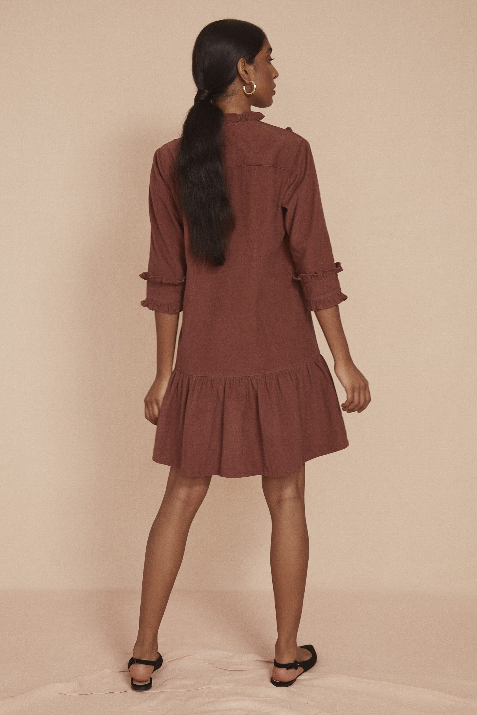 THE BELLA FRILL DRESS | Cognac Brown Baby Thin Corduroy