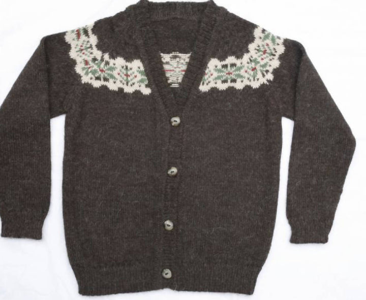 Cardigan, Fair Isle V Neck in Chocolate Brown