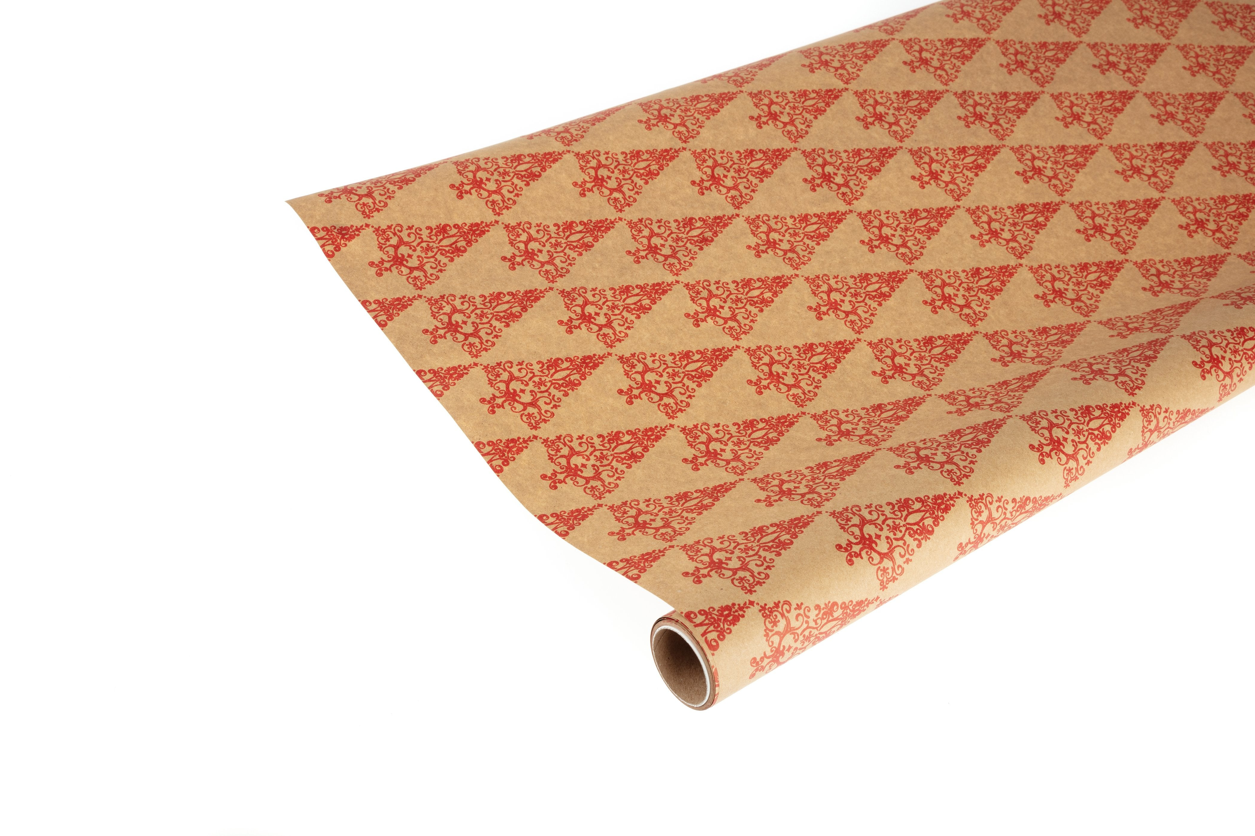 3M Roll Recyclable Brown Kraft Paper with Red Christmas Trees