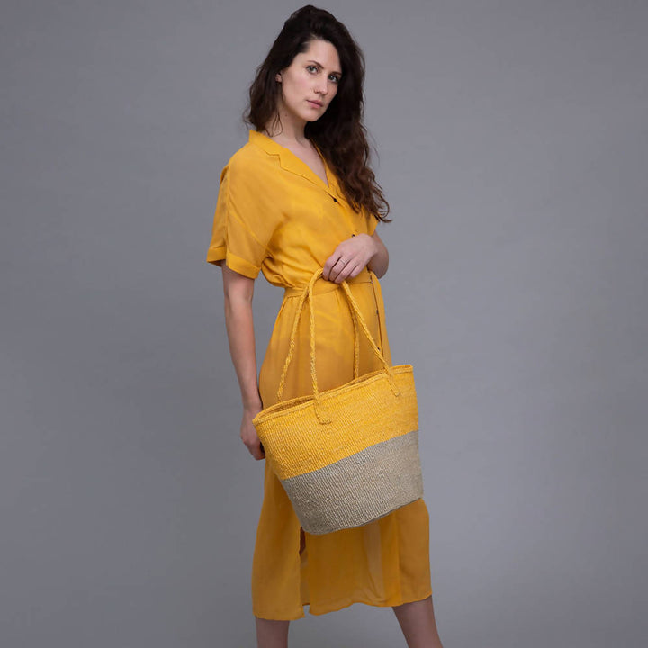 MWEPESI: Grey and Yellow Colour Block Shopper
