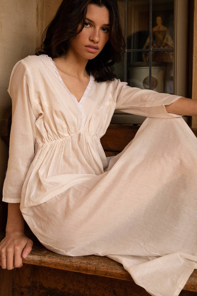 Florence - Cotton Nightdress - Pale Pink