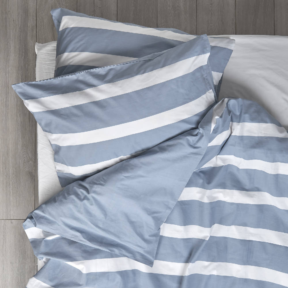 Blue Thin Stripe Reversible Bedding