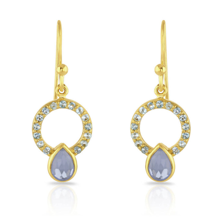 Allegra Gold Blue Topaz Earrings