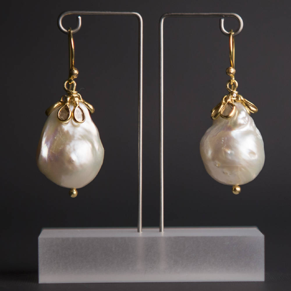 Baroque pearl and diamond cluster earrings