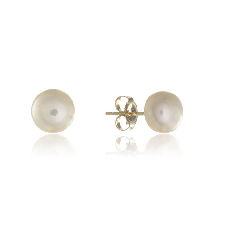 Seville Small Freshwater White Pearl Stud and Gold Vermeil Earrings