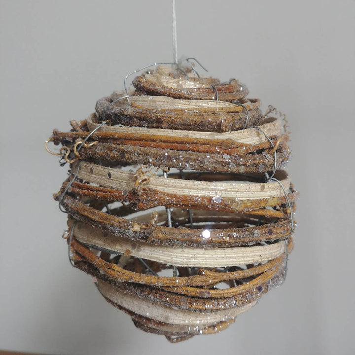 Twig, Rattan & Glitter XL Bauble