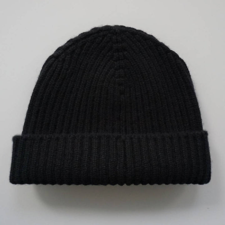 Black Ribbed Hat 4 Ply Cashmere