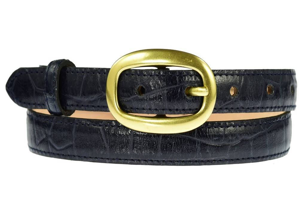 Ladies Italian Leather Navy Crocodile Skinny Waist Belt With Gold Buckle