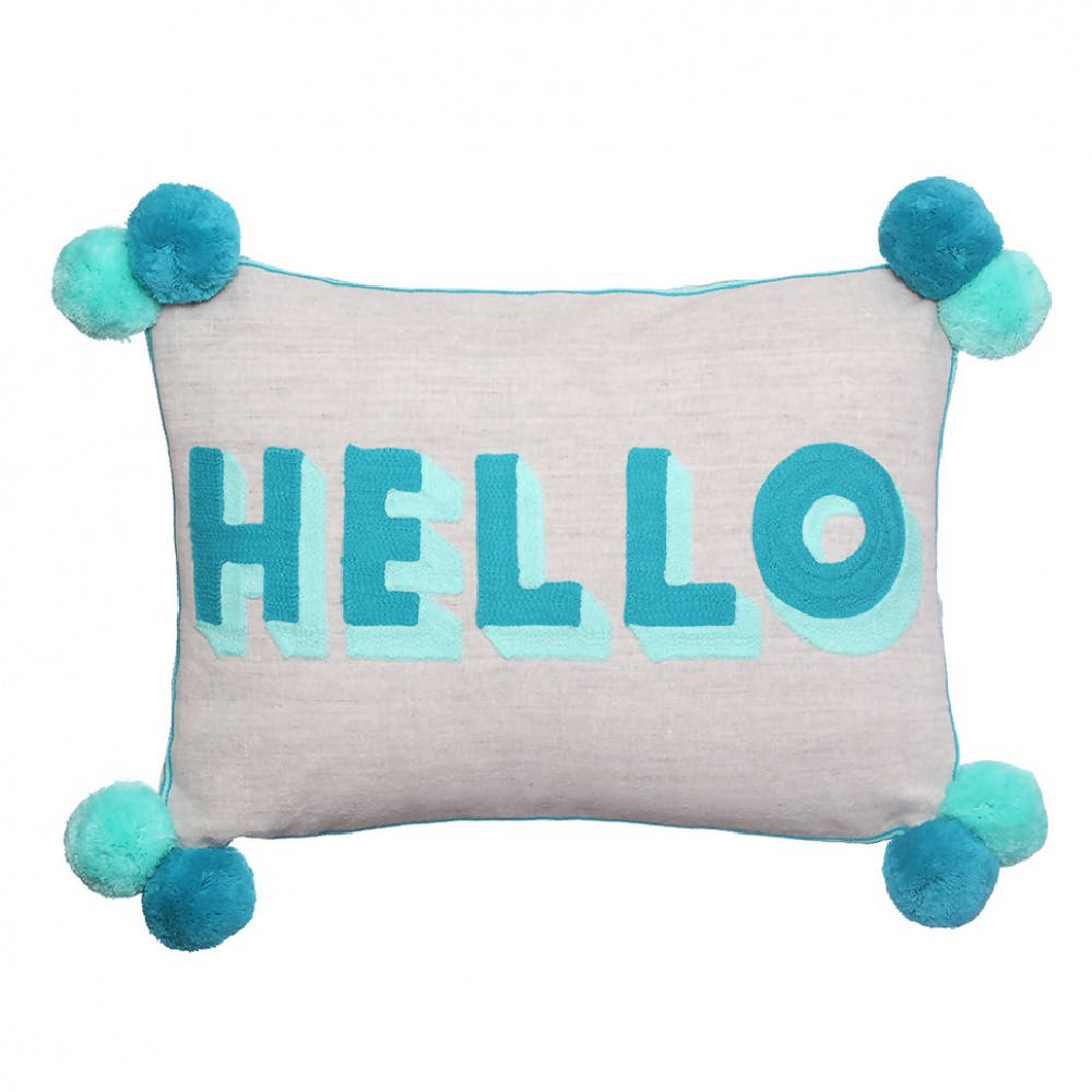 HELLO Turquoise Teal Pom Pom Cushion