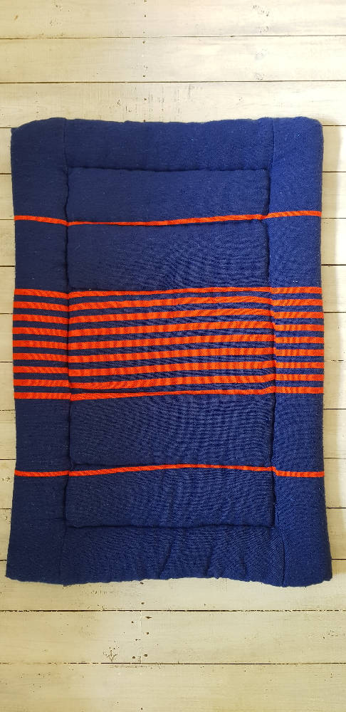 Blue and orange dog mat large