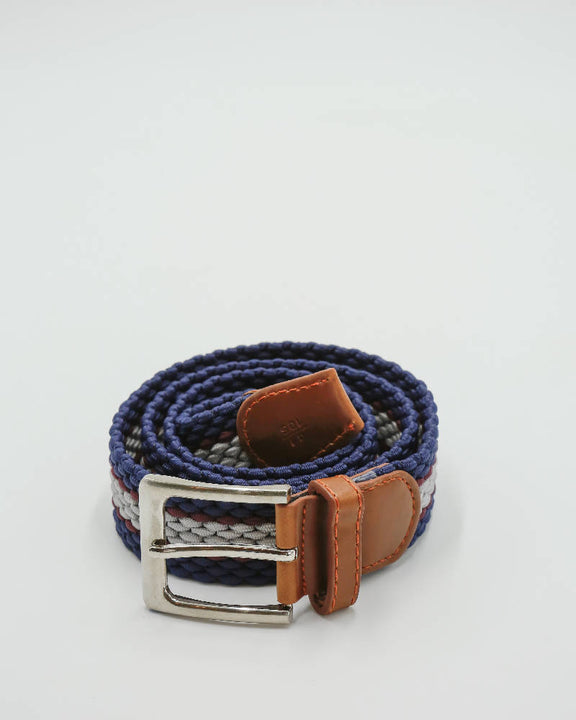 Unisex metal buckle woven polo belt. Navy, grey and mulberry stripe design.