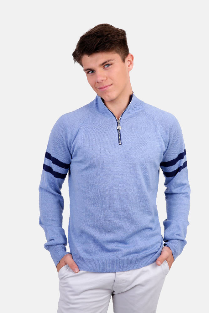 Mens B4 Light Blue & Navy Zip Jumper