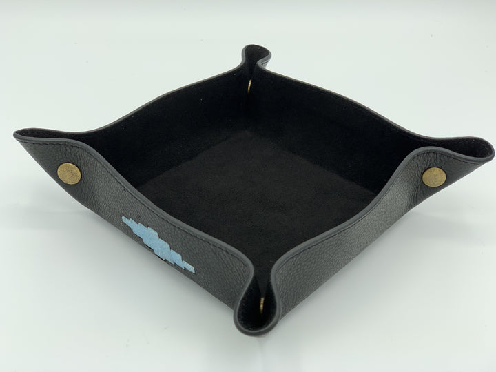 Coin Tray Black Leather with blue stitiching