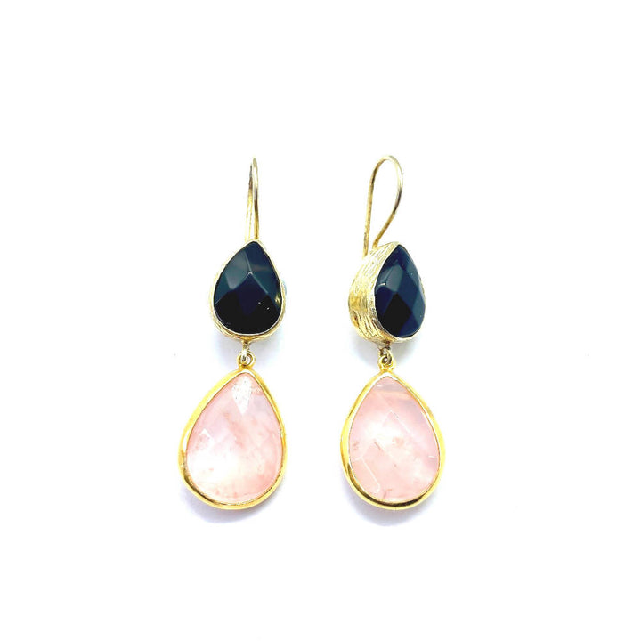Lottie Stone Onyx and Rose Quartz 9ct Gold Finished Sterling Silver Earrings
