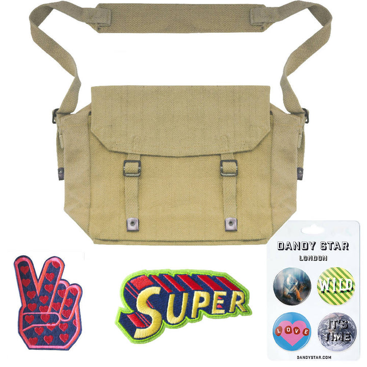 KHAKI CUSTOM KIT BAG WITH PATCHES + BADGES