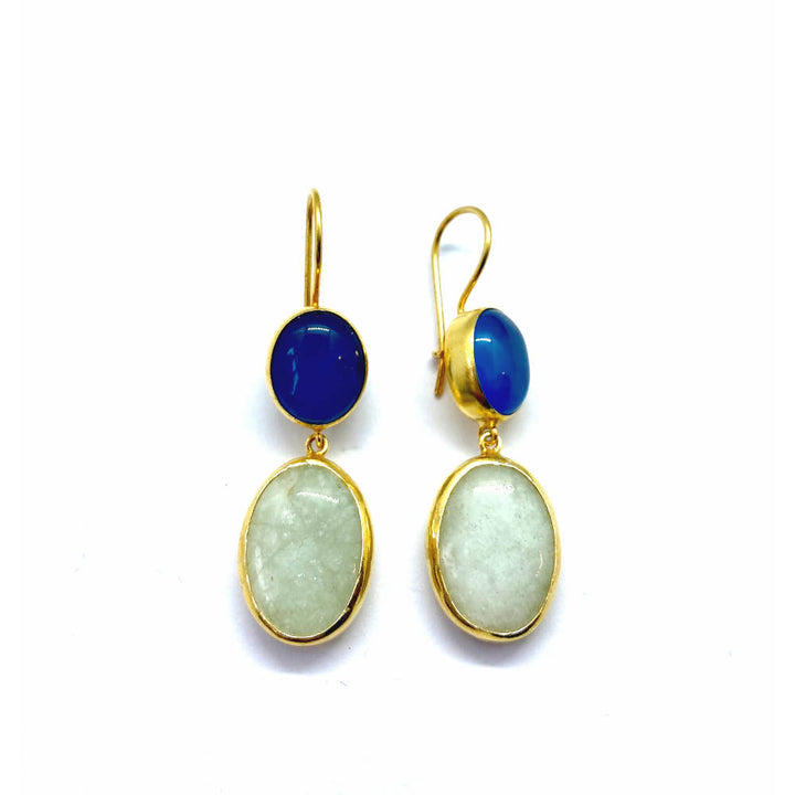 Lottie Stone Blue Jade and Chalcedony 9ct Gold Finished Sterling Silver Earrings