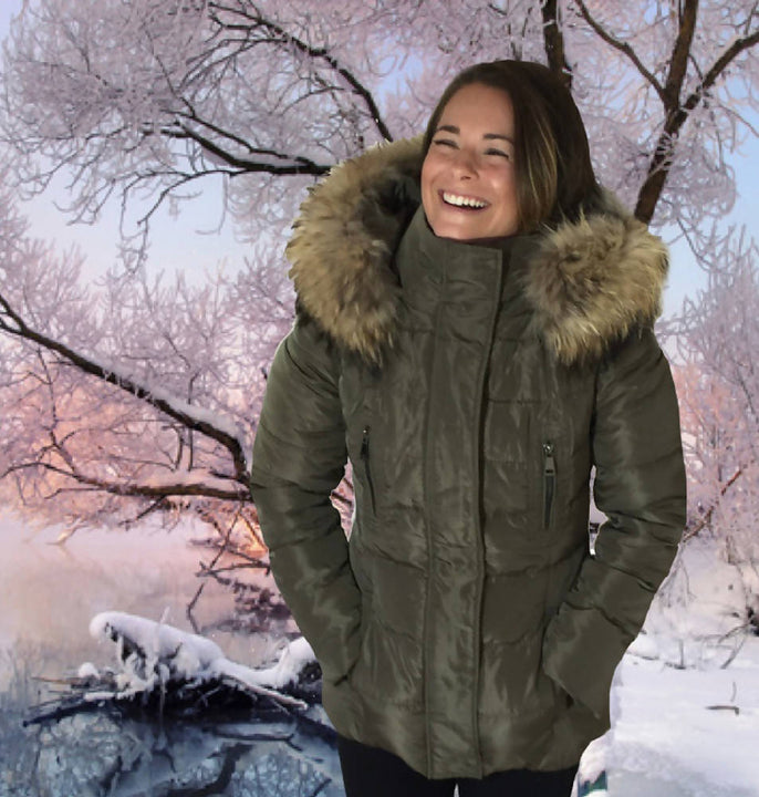 Parka Jacket - down filled with fur trim