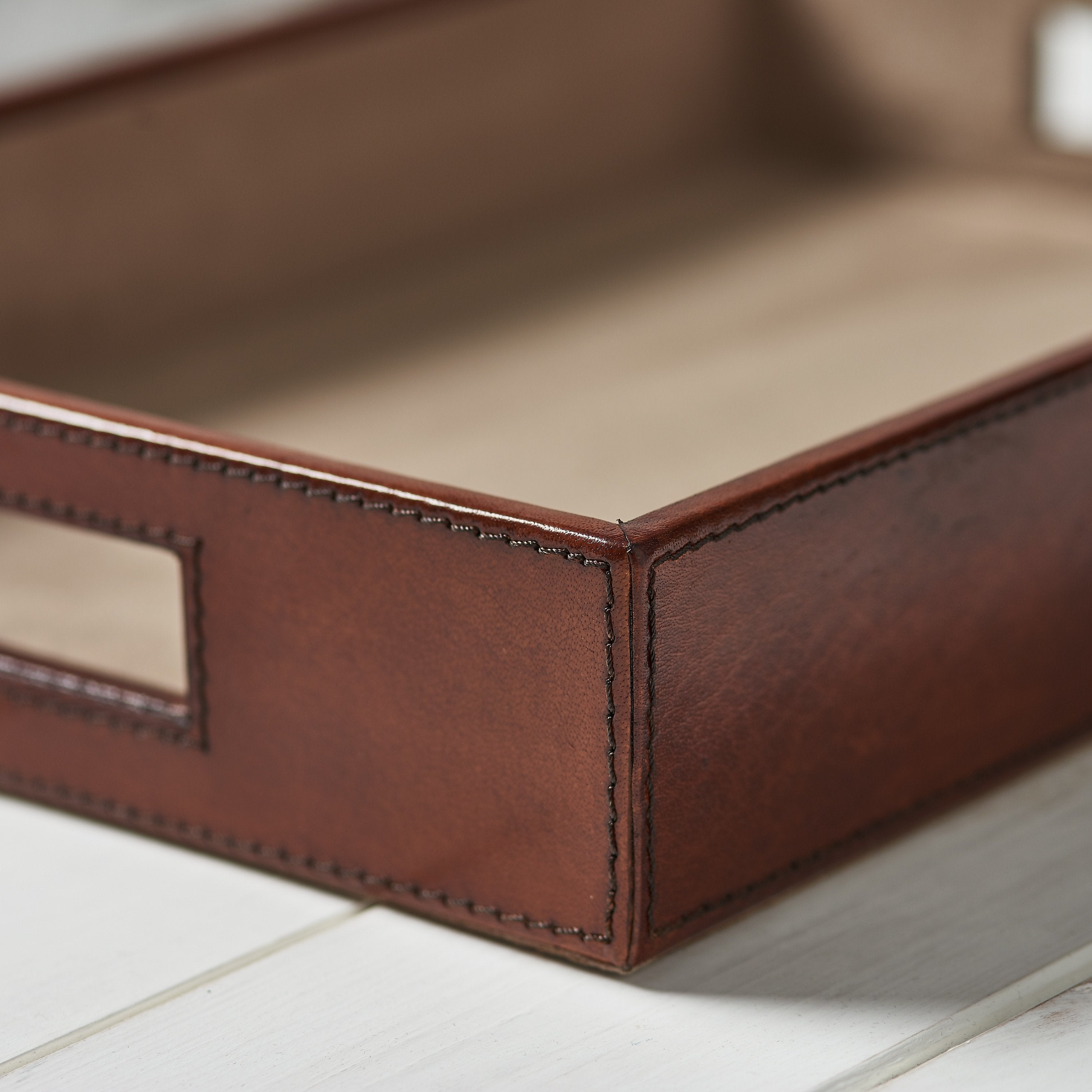 Leather Desk Tray - Tan