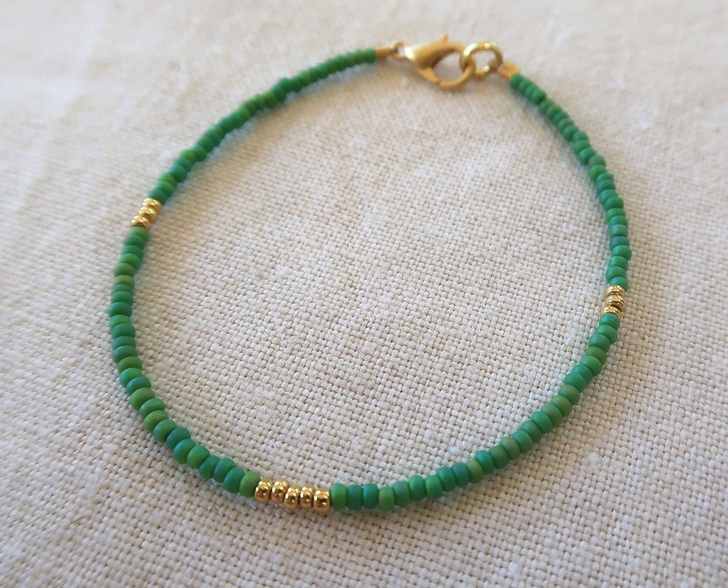Green and Gold beaded Bracelet
