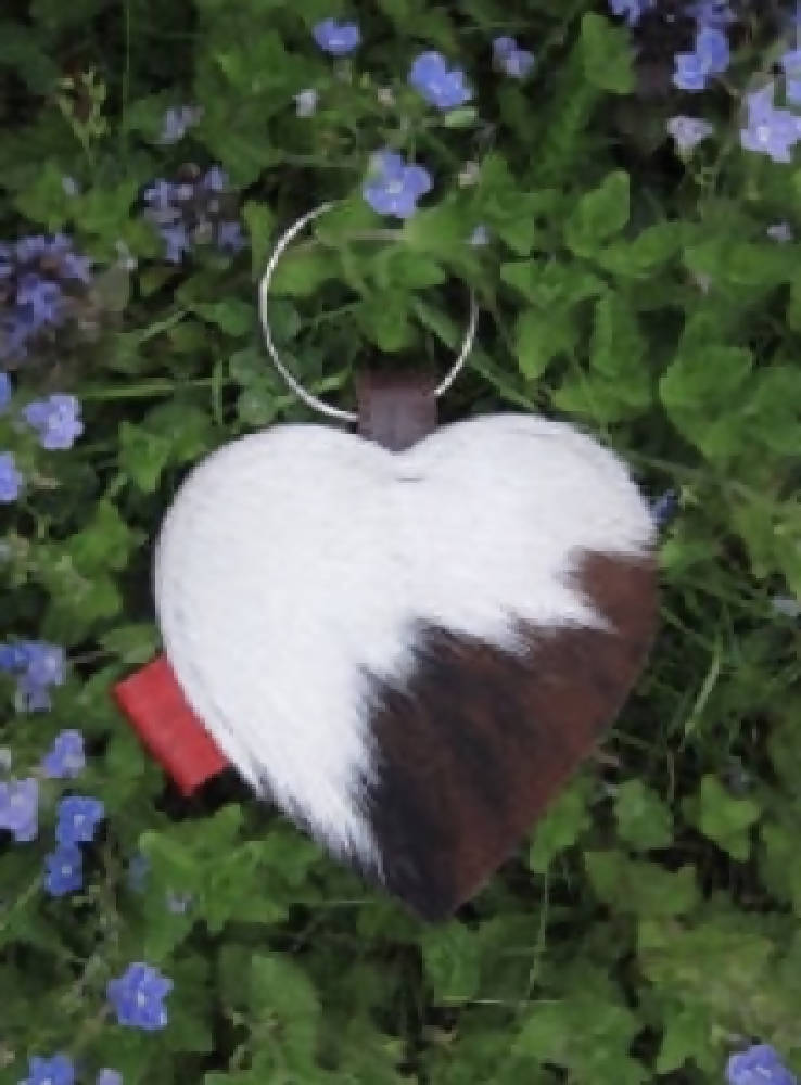 Large Cowhide Heart Key Ring