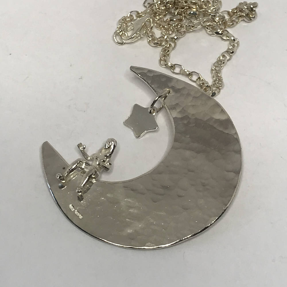 "Moon Person Pendant with 20"" chain Sterling Silver"