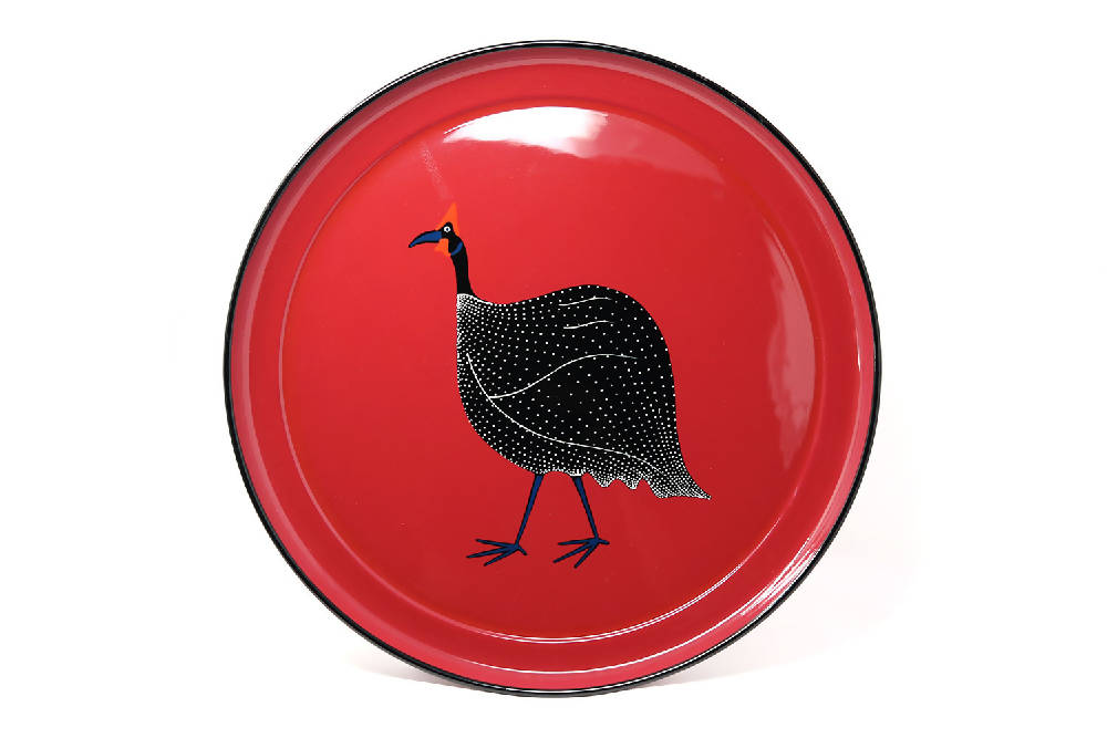 Large round tray, Cherry Red Guineafowl