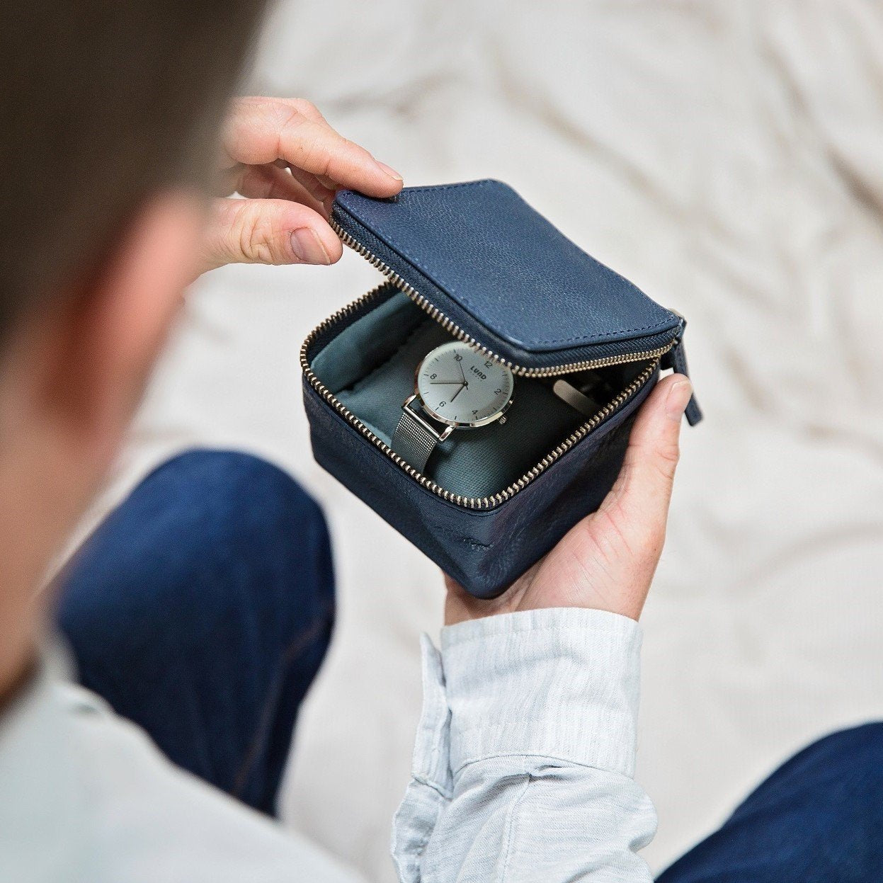 Leather Jewellery and Watch Box - Ink Blue