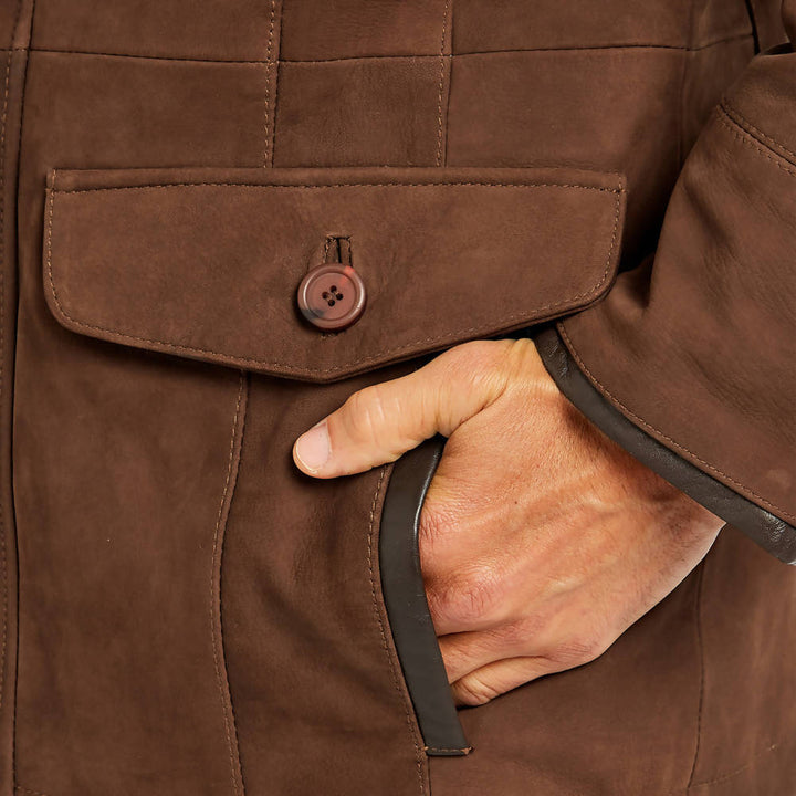 Moore Leather Jacket in Walnut