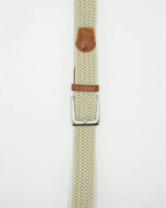 Unisex metal buckle woven polo belt. Light beige plain design.
