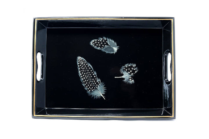 Drinks Tray, Guineafowl Feathers on Black