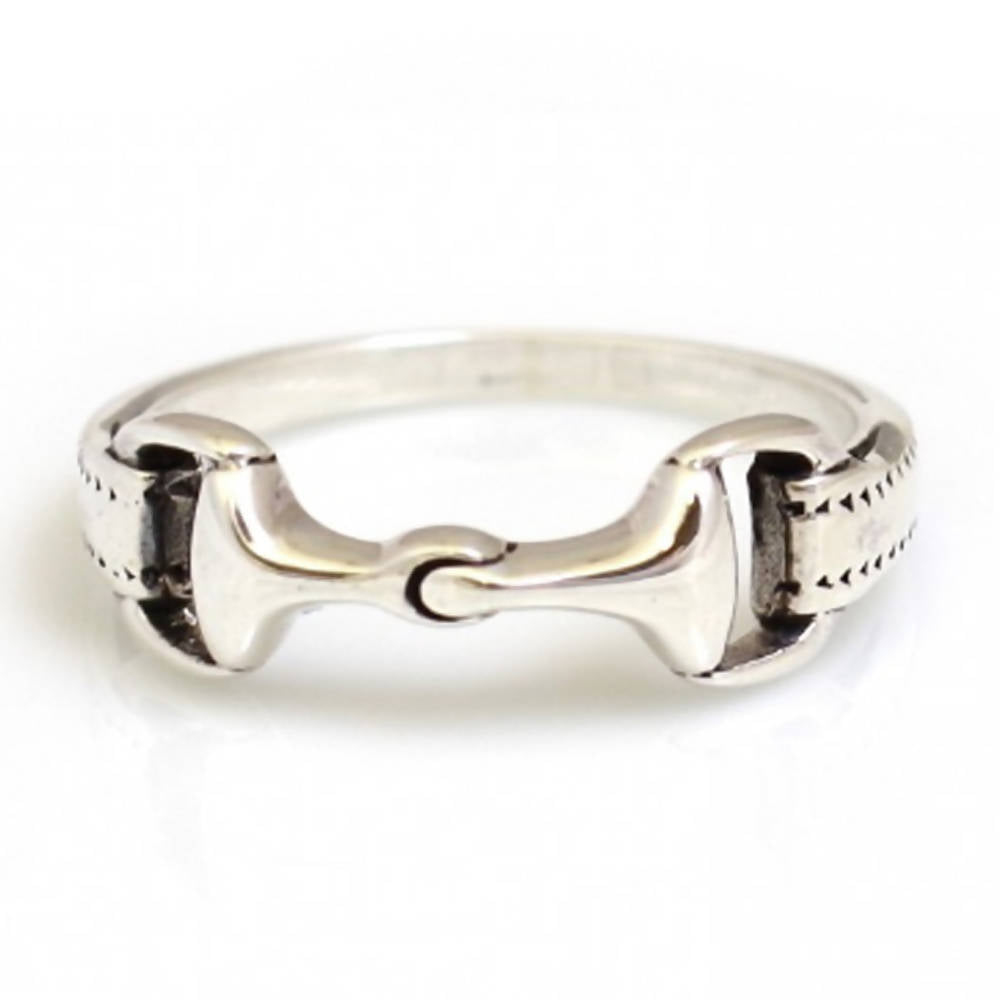 Sterling Silver Detailed Snaffle Ring