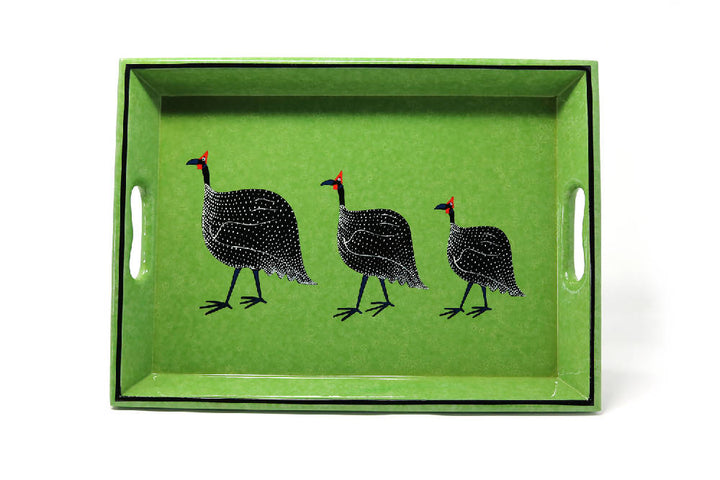 Drinks Tray, Textured Green Guineafowl